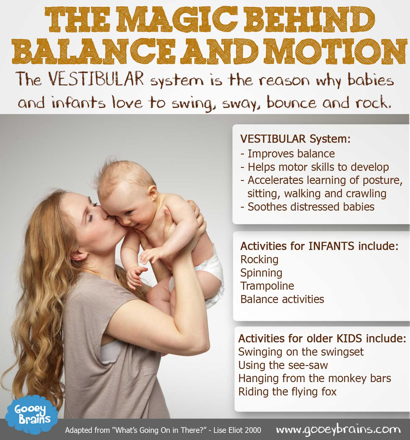 The vestibular system is the reason why babies and infants love to swing, sway, bounce and rock.
