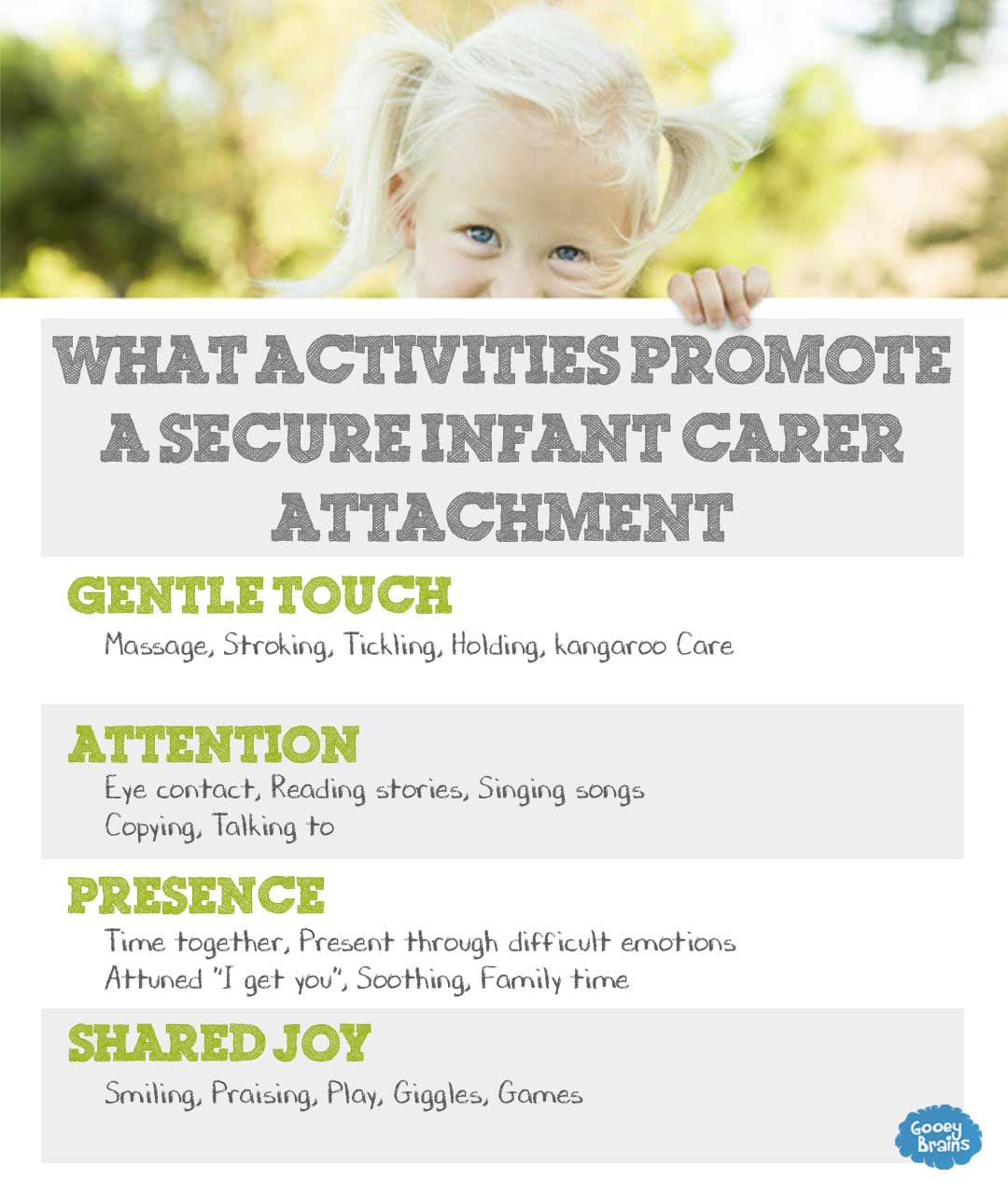what activities promote a secure infant carer attachment